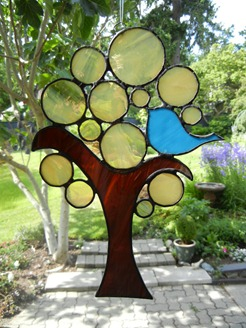 Stained Glass Design Blue Bird