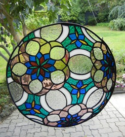 Stained Glass Flower Sphere Window