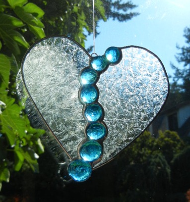 Stained Glass Gem Heart Design