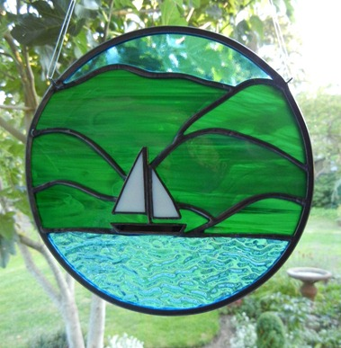 Stained Glass Ocean Scenery Design