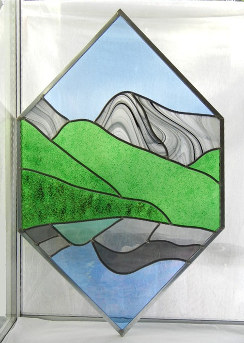 Stained Glass Mountain Window Design
